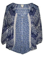 Fig And Flower ANTHROPOLOGIE Peasant Blue Boho Tops/Blouse Sheer Button Front M