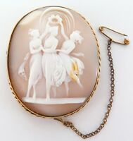 .ANTIQUE / VERY LARGE 9CT GOLD 3 FIGURES CAMEO BROOCH