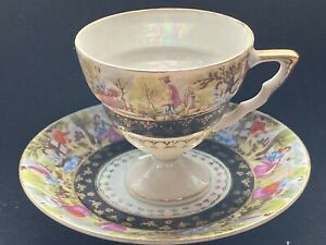 Sterling TEA CUP AND SAUCER GOLD TRIM EDGE SCENE ROYAL BLUE