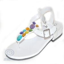 AU Size 6.5 White Sandal Multi Colour Rhinestone Diamante Casual Ladies Fashion