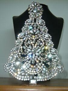 XL ART DECO VINTAGE RHINESTONE Christmas TREE XMASS STANDING *SIGNED* X432
