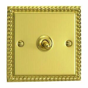 Varilight XGT1 Georgian Polished Brass 1 Gang 10A 1 or 2 Way Toggle Light Switch