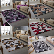 Modern Contemporary Abstract Design Rug Black Grey Red Living Room Carpet Rugs