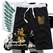 Anime Shingeki no Kyojin Cosplay Shorts Unisex Casual Black Summer Pants S-2XL