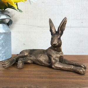 Vintage Bronze Effect Resin Laying Hare Figurine Statue Sculpture Ornament Gift