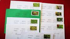 """9 timbres oblitérés sur lettre , thème """" des légumes pour une lettre verte""""2013"""