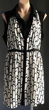 "NWT Black & White Geo Print SHEIKE ""Ambition"" Sleeveless Shirt Dress Size 14"