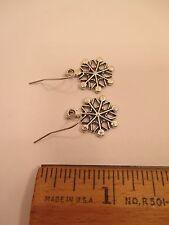 earrings Christmas holiday festive snowflake hook dangle silver tone #074