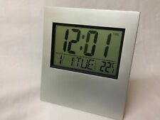 Digital Wall Clock Square Silver New Desk Table Home School Alarm Big Mount