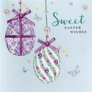 Sweet Easter Wishes Greeting Card Buttoned Up Embellished Greetings Cards