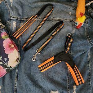 Breathable Reflective Adjustable Nylon Leather Green / Orange / Black Harness an