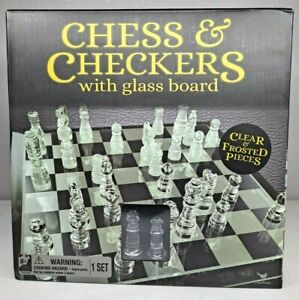 NEW Cardinal Classic Glass Chess and Checkers Set with Glass Board Fast Shipping