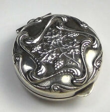 Vintage Sterling Silver Snuff/ Pill/ Other Box Round Floral Pendant