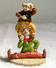 """4"""" Ceramic Clown Figurine w/One Clown Standing on the Shoulders of the Other"""