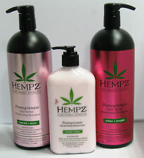 Hempz Pomegranate Shampoo & Conditioner 33.8 Liter Set plus 17 oz LOTION 3 Pack