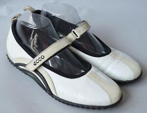 Ladies Ecco Lite White, Cream & Black Mary Jane Flats Trainers Size UK 6
