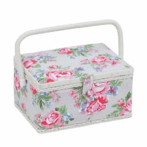 HobbyGift Medium Sewing Basket Rose Grey Pink Storage Box
