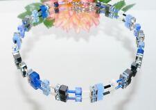 Kette Collier  Cube Cat Eye polaris Hämatit KRISTALL blau silber Strass 500k