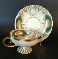 Royal Sealy Pedestal Cup And Saucer - Green And White With Gold Moriage - Japan