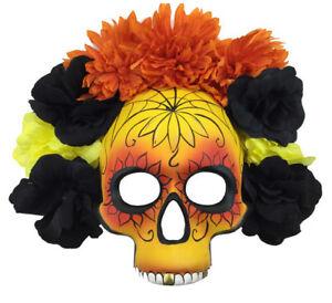 Day of the Dead Mask Dia de los Muertos Orange Yellow Black Flower