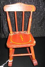 Antique wood red stenciled chair Rocker