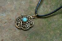 Set Anhänger Keltischer Knoten Bronze Türkis echter Stein plus Lederband Kelten