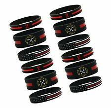 12-Pack - Firefighters' Thin Red Line Silicone Bracelets - Wholesale Bulk Pac...