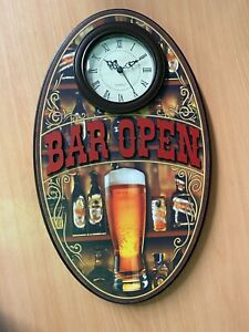 Bar Open Clock 3d Wall Sign Battery Include 47cm Oval Beer Pub Welcome