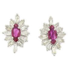 14K White Gold 1.65ctw Marquise Ruby & Baguette Diamond Ballerina Stud Earrings