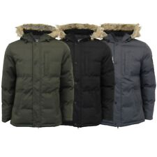 Mens Jacket Threadbare Heavy Coat Quilted Padded Hoodie MELBOURNE Lined Winter
