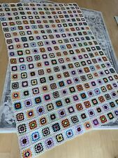 Vintage Afghan Crochet Granny Square Blanket Handmade Throw Bed Quilt 57x85