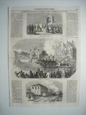 GRAVURE 1853. INAUGURATION DU CHEMIN DE FER DE TURIN A SAVIGLIANO, PIEMONT. EXPL