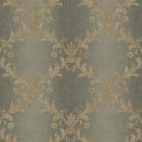 Wallpaper Taupe Acanthus Leaf Trellis on Gray Silver Ombre Stripe