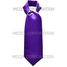 New Vesuvio Napoli Men's Polyester Ascot Cravat Necktie Wedding Solid Purple