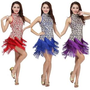 Women Latin Salsa Rumba Cha Cha Dancewear Sequined Tassel Ballroom Dance Dress