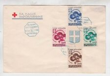 1942 red cross cover with four surtax stamps,with label,rare!       f189