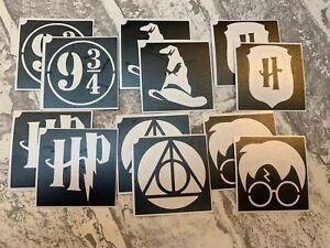 12 x Harry Potter Glitter Tattoo Stencils, 2 of each design 4.5cm x 4.5cm