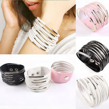 Chic Women Men Unisex PU Leather Wrist Cuff Bangle Gothic Punk Bracelet Jewelry