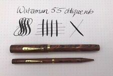 Waterman 55 Fountain Pen + Pencil Super Flexible Gold Oblique Nib Red Ripple