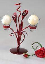 Moderner Kerzenständer aus Metall Aida-bordeaux Höhe 32 cm