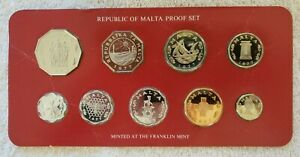 1977 Republic of Malta Proof Set of 9 Coin Franklin Mint Nice