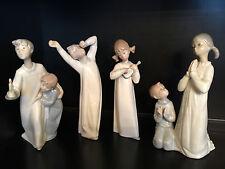 "Lladro""Boy/Girl,Boy Yawning,Girl W/Guitar, Teaching To Pray""4874,4870, 4871,4779"