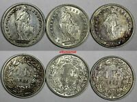 Switzerland Silver LOT OF 3 COINS 1920 B 1 Franc VF-XF KM# 24 (17 208)