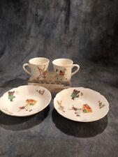 Four Piece Set Children's Dishes 2 Bowls 2 Cups Clowns Vintage As Is
