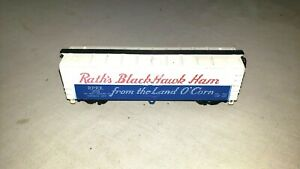 Rath's 208 Black Hawk Ham Train Reefer Advertising Billboard Train Box Car(007)