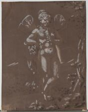 Old Master Drawing Figural Nude With Wings Brown Wash and White Gouache 18th c.