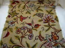 """Vintage Hand Crewel Embroidery on Linen 3pc Large 21""""+ Squares Jacobean Floral"""