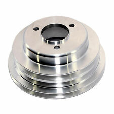 Polished Aluminum BB Chevy 1969-up Triple Groove CRANKSHAFT PULLEY - LWP Lower