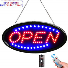 Led Open Sign with Remote, 19x10inches Ultra Bright Electric Light Up Signs for