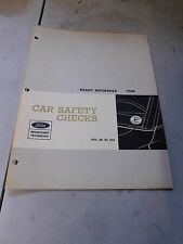 NOS 1968 FORD MUSTANG FAIRLANE TORINO GALAXIE SAFETY CHECKS SHOP SERVICE MANUAL
